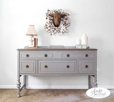 Antique buffet refinished in Perfect Gray Milk Paint by General Finishes and stained in Graystone Water Based Wood Stain. Gray Painted Furniture, Milk Paint Furniture, Repurposed Furniture, Painting Furniture, Painted Dressers, Primitive Furniture, Furniture Makeover, Diy Furniture, Furniture Design