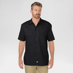 Dickies Men's Big & Tall Original Fit Short Sleeve Twill Work Shirt- Black Xxxl Tall