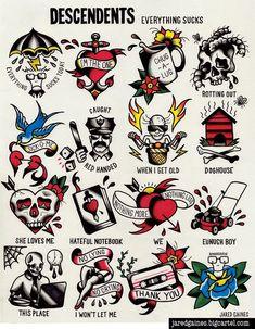 http://jaredgaines.bigcartel.com/product/descendents-everything-sucks-tattoo-flash #descendents #flashart #tattooflash #traditionaltattoo #tattooideas #punkrock