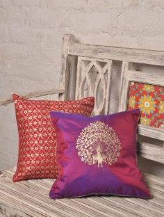 Pansy Purple Dancing Peacock Kasab Silk Cushion Cover - x Cushion Covers Online, Cushion Cover Designs, Ethnic Home Decor, Indian Home Decor, Traditional Cushions, Silk Bedding, Diy Cushion, Pillow Inspiration, Embroidered Cushions