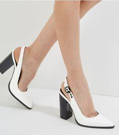 89982990f84b White Sling Black Pointed Block Heels