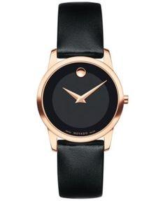 Movado Women's Swiss Museum Classic Black Leather Strap Watch 28mm 0607079 - Black