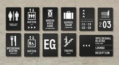 Signage, Wayfinding system, Youth Hostel Nuremberg, by Melville Brand Design, pictograms, typography