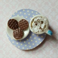 Coffee and chocolate cookie magnet,  fridge magnet, refrigerator magnet, miniature food,  stocking stuffer by MagentaMinis on Etsy