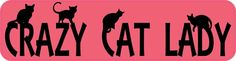 8in x 2in Crazy Cat Lady Bumper Sticker Vinyl Car Window Decal Stickers