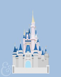Cinderella's Castle Minimalist Poster by TintsShadesFineArt on Etsy https://www.etsy.com/listing/235068981/cinderellas-castle-minimalist-poster
