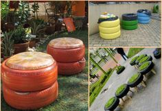 Useful daily objects  From places to seat to containers an old tire can be used in many ways. Chairs, beanbags, benches and sofas made of tires are good objects to place in your terrace or garden as they can endure all weather conditions and bring a nice look to the place! Apart from seats you can also use tires (one on top of other) to create large containers where you can store things as soil, garbage, stones or even your kids toys!