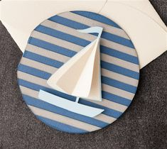 Sail boat card. Make It Now with the Cricut Explore machine in Cricut Design Space. Free project with the Cricut Explore One.