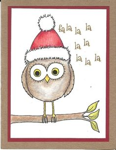 Owl Holiday Christmas Cards /handmade/craft stamped