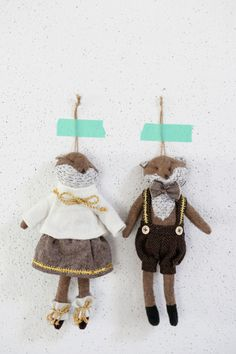 tiny mr. and mrs. stuffed animals for a newlywed tree