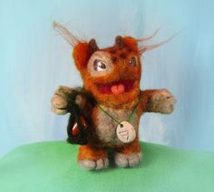 Jasper, the Earth Elemental, needle felted animal, felted monster by EnchantedLandofFelt on Etsy $79   www.EnchantedLandofFelt.com www.enchantedlandoffelt.etsy.com #needlefeltedanimal, #feltedanimal, #feltedminiature, #animalminiature, #miniatureanimal, #needlefelting, #feltanimal, #feltedanimals, #fiberart, #feltdecor, #softsculpture
