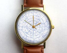 Vintage Star Chart Watch, Zodiac, Unisex Watch, Ladies Watch, Men's Watch, Astronomy, Astrology, Analog, Gift Idea, Space, Gift for Men by 10northcreative on Etsy https://www.etsy.com/listing/198273679/vintage-star-chart-watch-zodiac-unisex