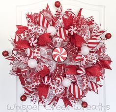 Candy Cane Red & White Deco Mesh Front Door Wreath #Christmas #decomeshwreath #WhisperCreekWreaths