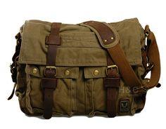 """Brown Green. Messenger Bags. Canvas Satchel Shoulder Messenger Bag 14"""" Laptop Bag."""