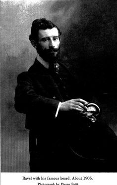 Maurice Ravel's beard was apparently famous, but in most photos he is clean-shaven.