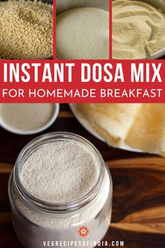 Instant Dosa Mix Recipe, Homemade Dosa Mix for making Instant Dosa Kids Cooking Recipes, Kitchen Recipes, Easy Cooking, Homemade Breakfast, Breakfast Recipes, Snack Recipes, Dessert Recipes, Idli Recipe, Recipe Mix