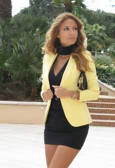 Little Black Dress And Canary Yellow  Bold Blazer