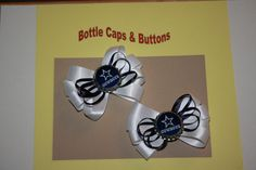 Dallas Cowboys Bottle Cap Hair Bows. Epoxy Covered, the caps are not waterproof. We have all of the NFL teams. These can be sold single or in pairs. These also can be attached to pony tail holders.