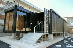 Container House - コンテナハウス もっと見る - Who Else Wants Simple Step-By-Step Plans To Design And Build A Container Home From Scratch? Container Shop, Cargo Container Homes, Building A Container Home, Container House Plans, Shipping Container Buildings, Shipping Container Home Designs, Shipping Containers, Shipping Container Office, Container Architecture