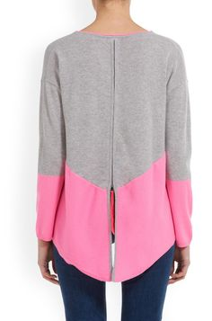 Zip Back Colour Block Jumper in Grey and Candy Image