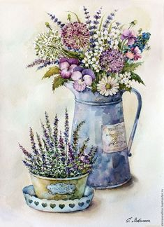 Buy Bouquet in the style of … - Pin Decor Decoupage Vintage, Vintage Diy, Vintage Paper, Vintage Images, Art Floral, Vasos Vintage, Watercolor Flowers, Watercolor Paintings, Decoupage Printables