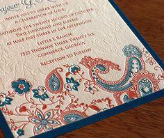 #Letterpress wedding invitation in blue and tangerine