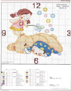 Schema punto croce Orologio Bimbo Dorme