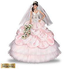Wedding Bride, Wedding Gowns, Chestnut Brown Hair, Manequin, Ashton Drake, Bride Dolls, Lace Garter, White Tulle, Pink Satin