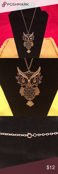 Novelty Owl Fashion Necklace 🦉 Large owl pendant measures 4 1/2 inches. Long 24 inch chain with lobster clasp. Silver tone statement piece! Conversation starter for sure. Calling all my owl lovers... you'll get a hoot over this necklace! Preowned, never worn. Jewelry Necklaces