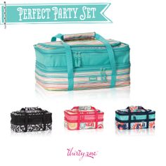 Thirty-One Perfect Party Thermal - 50% in May 2014 when you spend $31.  Holds two 9x13 dishes!!  Place an order with me during the special and receive two recipes in your mail!