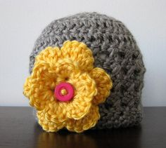 Baby Girl Hat, Newborn Photo Prop, Crochet Baby Hat, Gray & Yellow Infant Cap, Summer Beanie, Fall Hat, Winter Hat, Photography on Etsy, $19.00