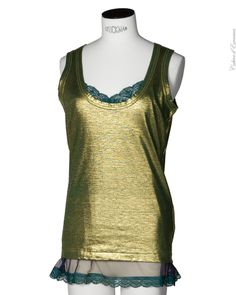 Tank Top with lace in Gold - Sacai Luck