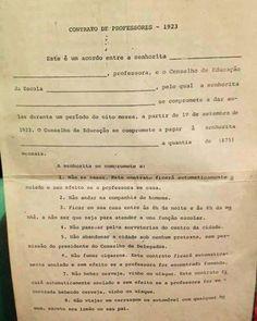 Contrato de professores em 1923 apresentava rigidez em compromissos - Reprodução Facebook - CLIQUE NA FOTO PARA VER O DOCUMENTO COMPLETO...