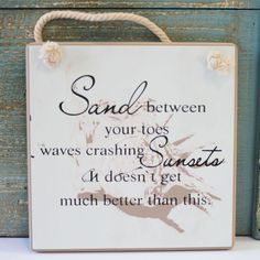 Toes in the Sand Small Square Beach Sign - Coastal Gift - California Seashell Company