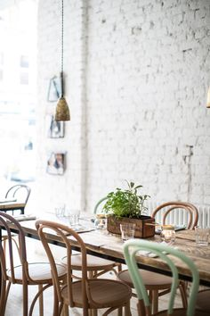 Table plant, candles, one odd colored chair vHally's   London