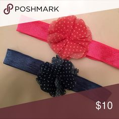 Baby Girl Headbands Baby Girl Headbands Perfect for Baby Girl About 0-3 Months. Price Is for Two Headbands. Coral Pink and Navy Blue White Polk A Dots on Each. Carter's Accessories Hair Accessories