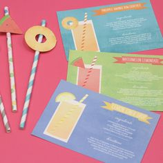 Cocktail Cards and Fruit Flags www.lovevsdesign.com While you are preparing for your summer parties and bbq's these cocktail recipe cards will come in handy. Three different refreshing recipes for your guests to enjoy: Lemon ginger drop, watermelon lemonade, and pineapple mango rum cocktails.