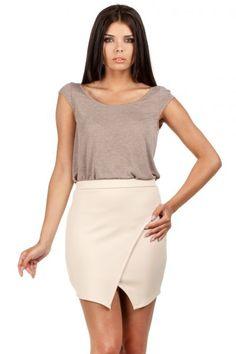 Pencil beige mini skirt