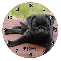 Black Pug Puppy Dog Wall Clock