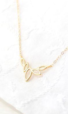 Gold Floral Necklace Leaf Necklace Delicate