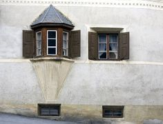 Historic bay window with shutters,Lower Engadin,Graubuenden/Grisons,Switzerland,Europe - Royalty Free Images, Photos and Stock Photography :: Inmagine