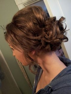 curly brown hair pinned up and teased #studniowka #polish #prom
