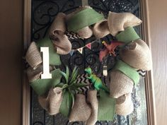 Dinosaur Theme Wreath for my son's 1st Birthday!!!