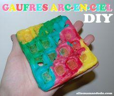 diy gaufre arc-en-ciel rainbow waffle color