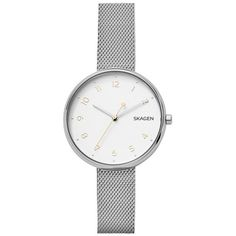Skagen Watch - Ladies Signatur Stainless Steel Silver - in silver -... ($165) ❤ liked on Polyvore featuring jewelry, watches, silver, silver dial watches, silver watches, skagen watches, white watches and analog watches