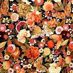 Metallic Gold Etched Flowers & Butterflies Cotton Fabric by FabriQuilt #FabriQuilt