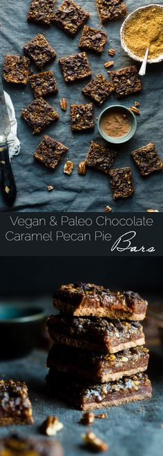 Chocolate Caramel Paleo Pecan Pie Bars - These easy paleo pecan pie bars have a layer of creamy date caramel! They're a vegan friendly and gluten free, healthier dessert for the Holidays! | Foodfaithfitness.com | @FoodFaithFit