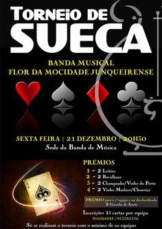 Torneio de Sueca   Banda Musical Flor da Mocidade Junqueirense   > 21 de Dezembro, 2012 - 20h30   @ Sede da Banda, Junqueira, Vale de Cambra