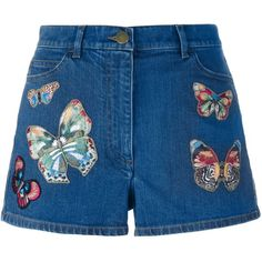 Valentino 'Jamaica Butterflies' denim shorts (31,330 EGP) ❤ liked on Polyvore featuring shorts, bottoms, denim, short, blue, short jean shorts, blue shorts, blue denim shorts, short shorts and jean shorts