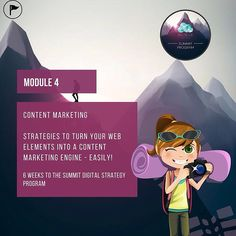 """""""Content is King - but what does that mean for your business? Module 4 is a big one, we focus on strategies and tactics to turn your web elements into a…"""""""